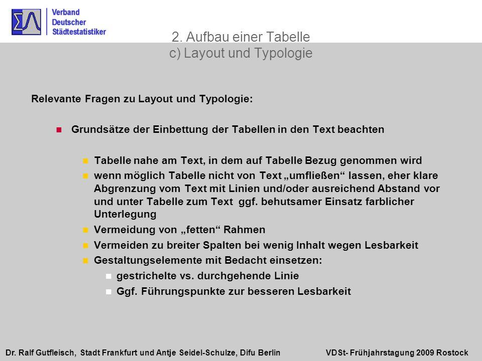 Dr. Ralf Gutfleisch, Stadt Frankfurt und Antje Seidel-Schulze, Difu Berlin VDSt- Frühjahrstagung 2009 Rostock 2. Aufbau einer Tabelle c) Layout und Ty