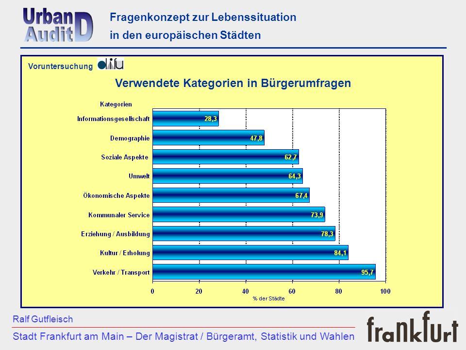 Voruntersuchung Fragenkonzept zur Lebenssituation in den europäischen Städten ___________________________________________________________ Vergleich de