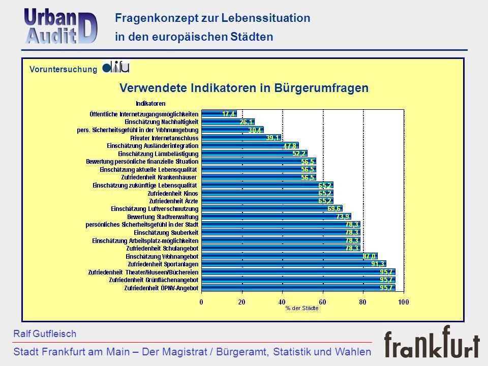 Verwendete Kategorien in Bürgerumfragen Fragenkonzept zur Lebenssituation in den europäischen Städten ________________________________________________