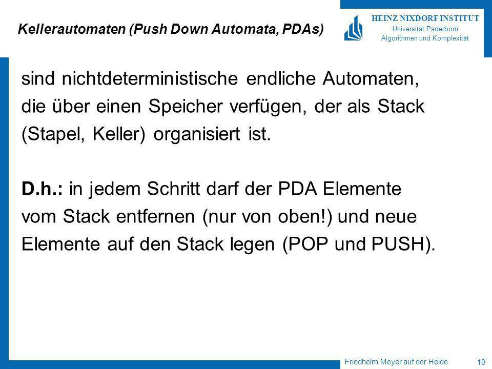 Friedhelm Meyer auf der Heide 10 HEINZ NIXDORF INSTITUT Universität Paderborn Algorithmen und Komplexität Kellerautomaten (Push Down Automata, PDAs) sind nichtdeterministische endliche Automaten, die über einen Speicher verfügen, der als Stack (Stapel, Keller) organisiert ist.