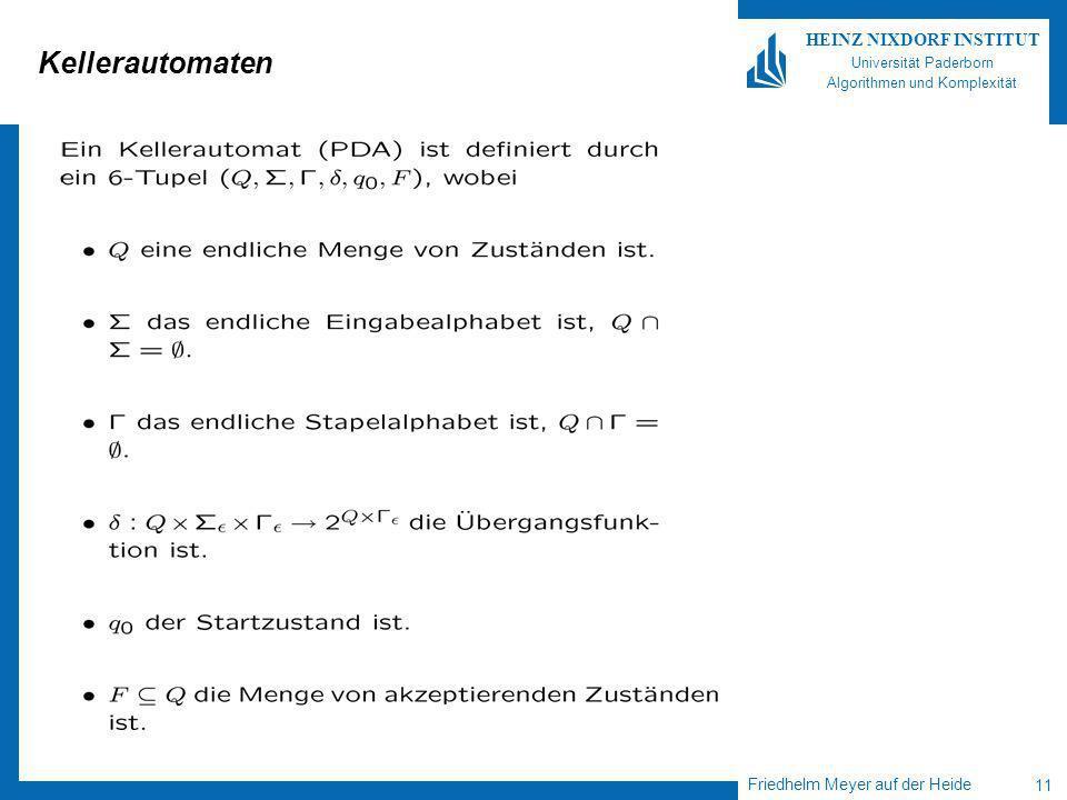 Friedhelm Meyer auf der Heide 11 HEINZ NIXDORF INSTITUT Universität Paderborn Algorithmen und Komplexität Kellerautomaten