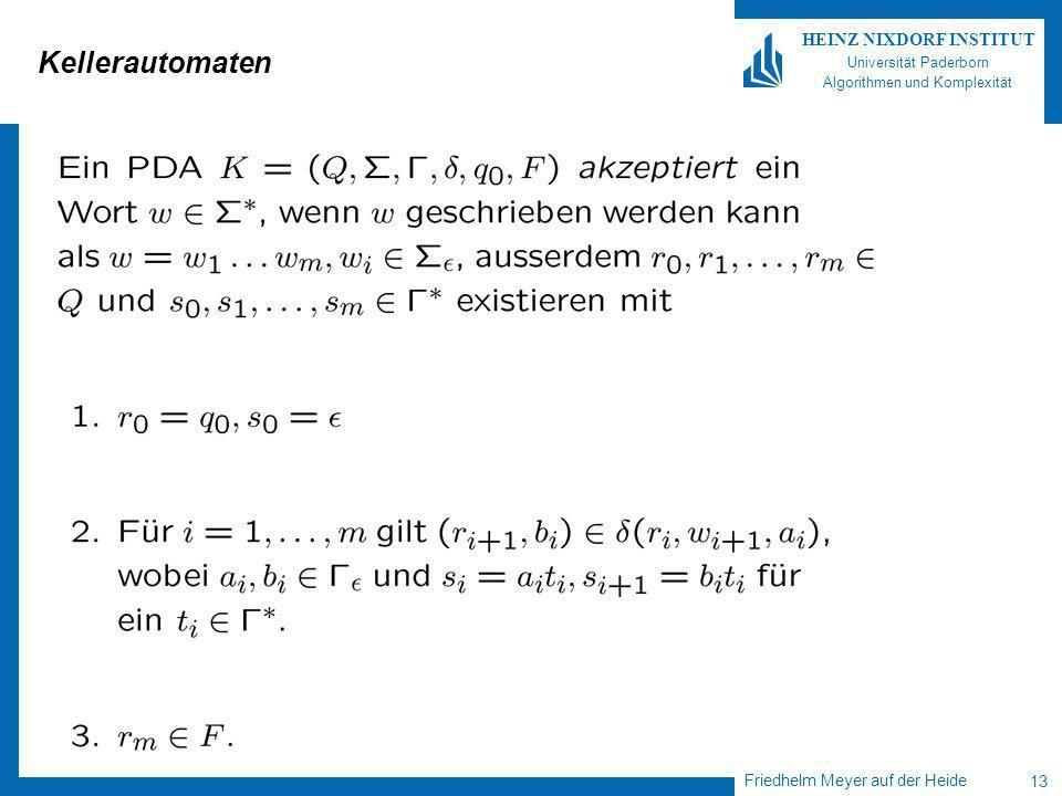 Friedhelm Meyer auf der Heide 13 HEINZ NIXDORF INSTITUT Universität Paderborn Algorithmen und Komplexität Kellerautomaten
