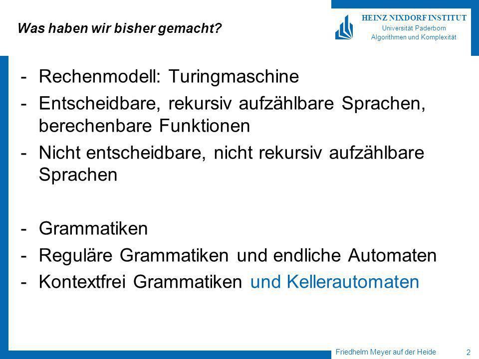 Friedhelm Meyer auf der Heide 3 HEINZ NIXDORF INSTITUT Universität Paderborn Algorithmen und Komplexität -Wieviele Ressourcen (Zeit, Speicherplatz) sind notwendig, um eine (berechenbare) Funktion auszuwerten / eine (entscheidbare) Sprache zu entscheiden.