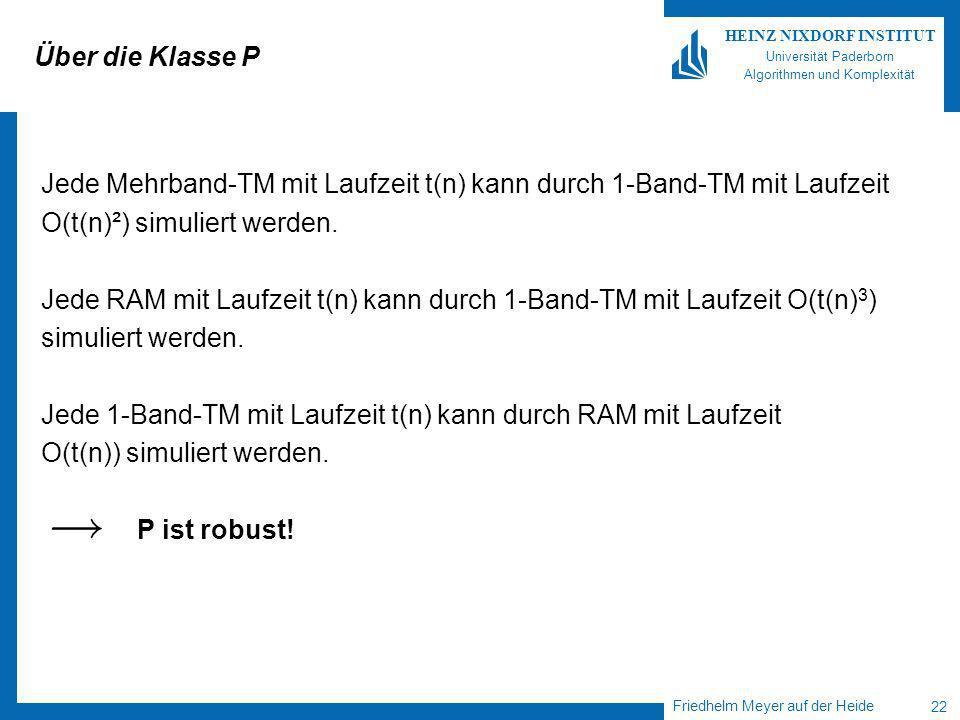 Friedhelm Meyer auf der Heide 22 HEINZ NIXDORF INSTITUT Universität Paderborn Algorithmen und Komplexität Über die Klasse P Jede Mehrband-TM mit Laufzeit t(n) kann durch 1-Band-TM mit Laufzeit O(t(n)²) simuliert werden.