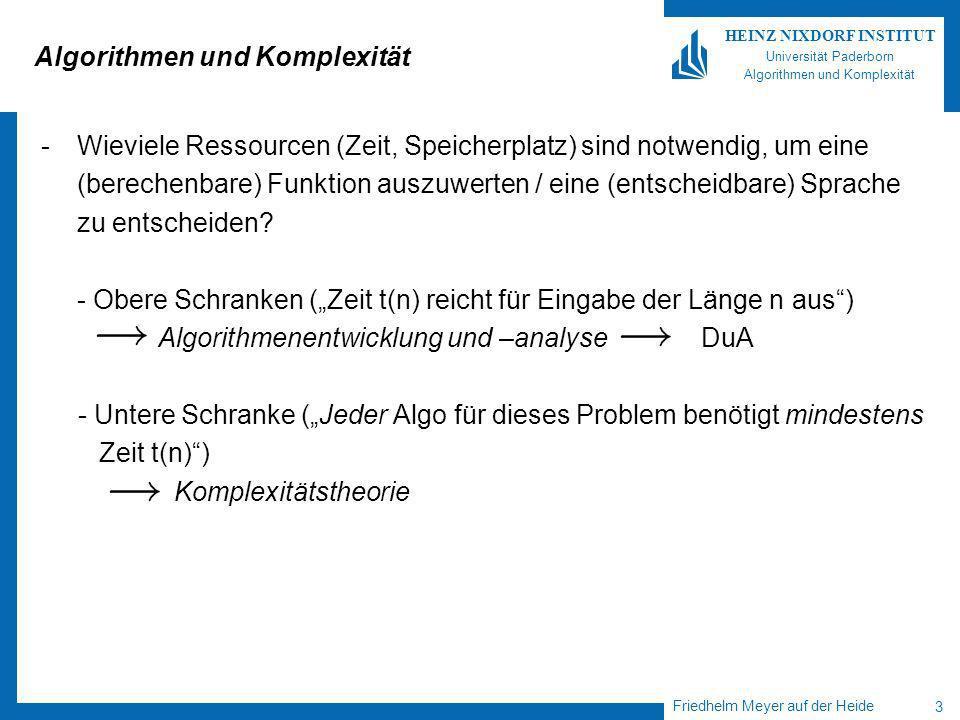Friedhelm Meyer auf der Heide 14 HEINZ NIXDORF INSTITUT Universität Paderborn Algorithmen und Komplexität Ein Beispiel PDA für L = {0 n 1 n | n¸ 1} 1.Lege $ auf (leeren) Stack 2.Solange 0 gelesen wird: lege Null auf Stack (PUSH) 3.Solange 1 gelesen wird: streiche NULL vom Stack (POP) falls keine NULL mehr da ist, oder eine 0 nach einer 1 gelesen wird: verwerfe 4.
