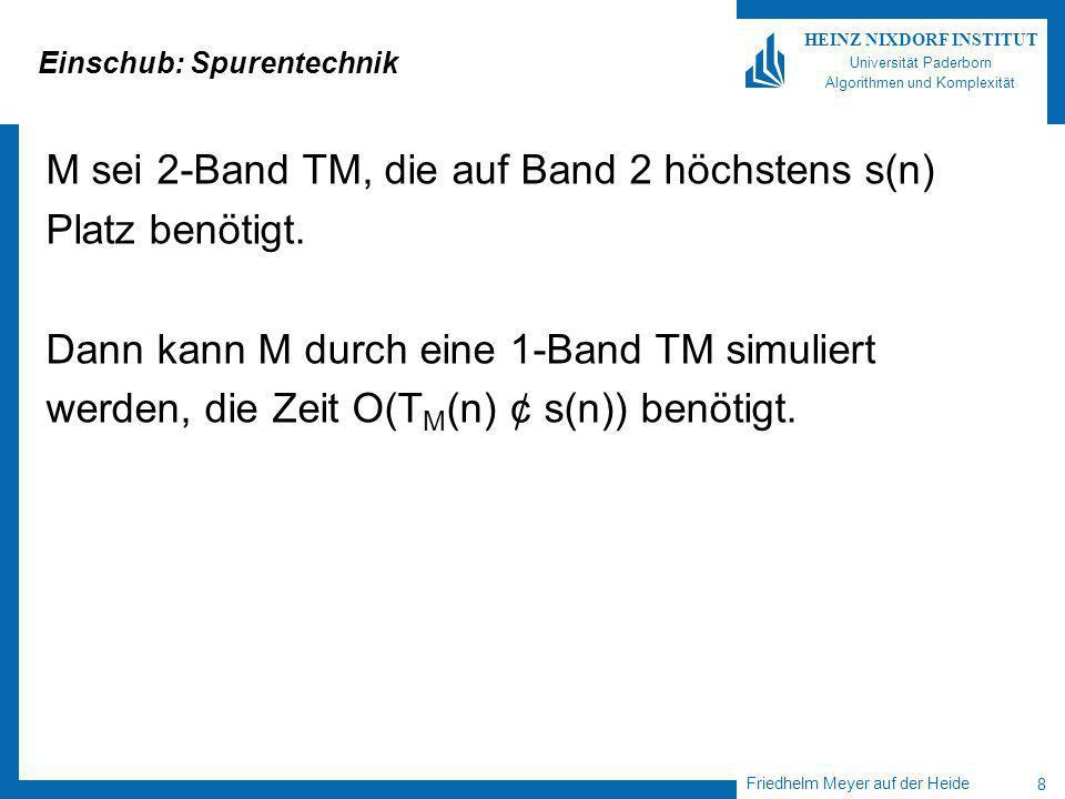 Friedhelm Meyer auf der Heide 8 HEINZ NIXDORF INSTITUT Universität Paderborn Algorithmen und Komplexität Einschub: Spurentechnik M sei 2-Band TM, die auf Band 2 höchstens s(n) Platz benötigt.