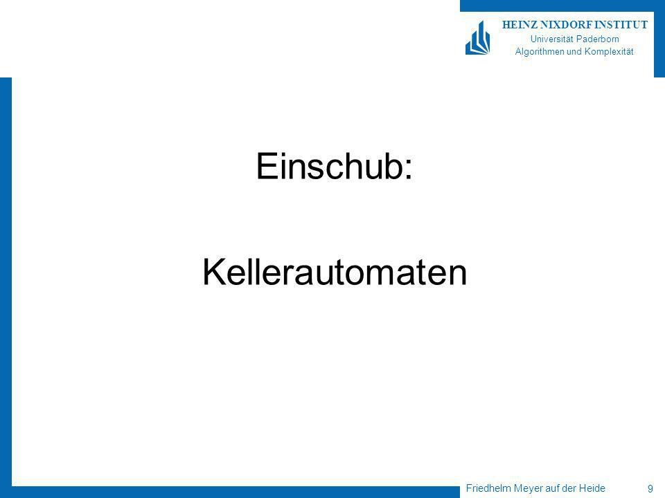 Friedhelm Meyer auf der Heide 9 HEINZ NIXDORF INSTITUT Universität Paderborn Algorithmen und Komplexität Einschub: Kellerautomaten