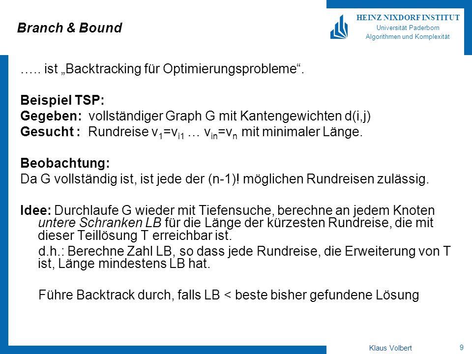 9 HEINZ NIXDORF INSTITUT Universität Paderborn Algorithmen und Komplexität Klaus Volbert Branch & Bound …..