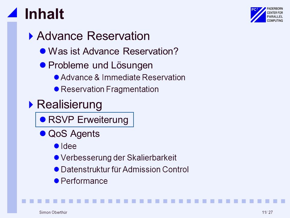 11/ 27Simon Oberthür Inhalt Advance Reservation Was ist Advance Reservation? Probleme und Lösungen Advance & Immediate Reservation Reservation Fragmen