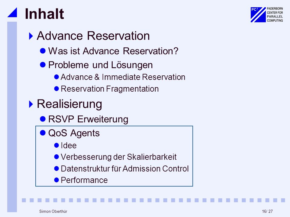 16/ 27Simon Oberthür Inhalt Advance Reservation Was ist Advance Reservation? Probleme und Lösungen Advance & Immediate Reservation Reservation Fragmen