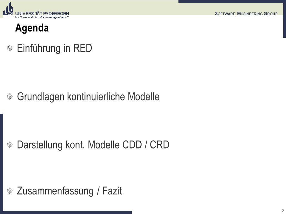 2 S OFTWARE E NGINEERING G ROUP Agenda Einführung in RED Grundlagen kontinuierliche Modelle Darstellung kont. Modelle CDD / CRD Zusammenfassung / Fazi