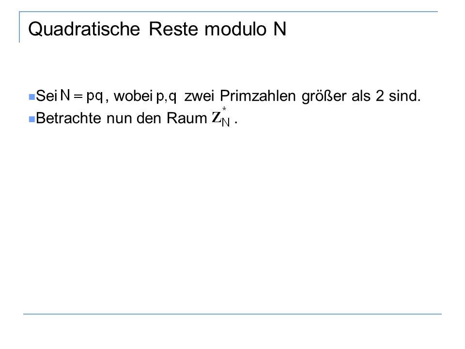 Quadratische Reste modulo N Sei, wobei zwei Primzahlen größer als 2 sind. Betrachte nun den Raum.