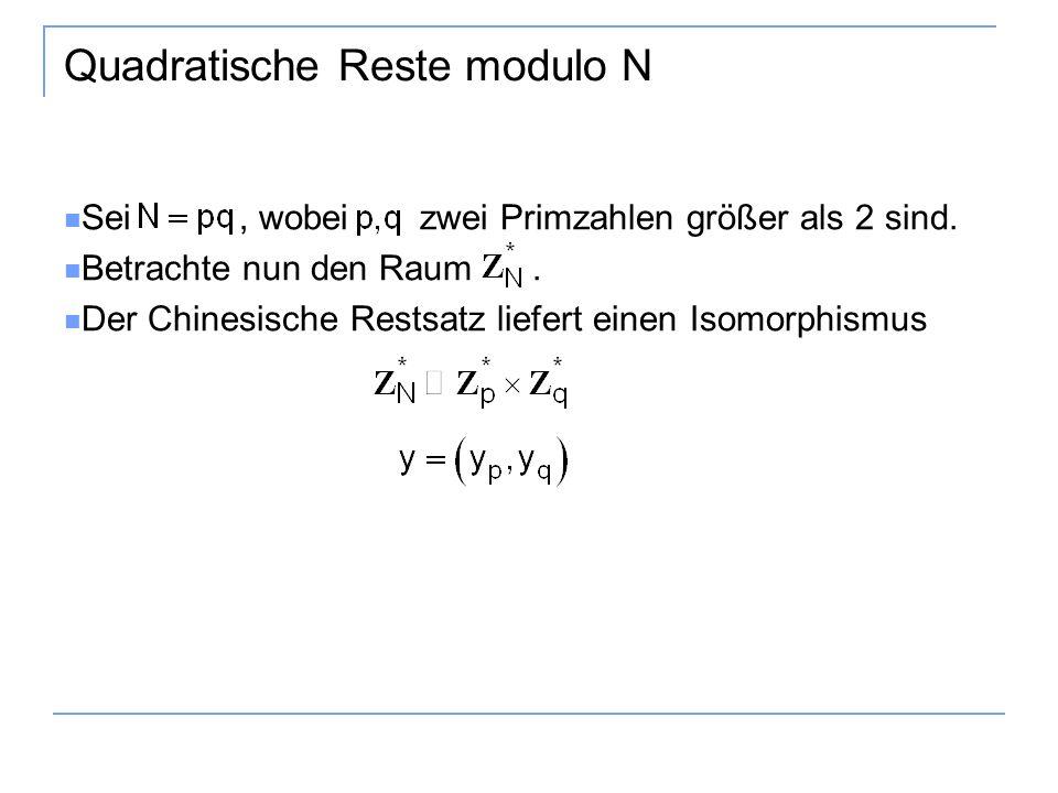Quadratische Reste modulo N Sei, wobei zwei Primzahlen größer als 2 sind.