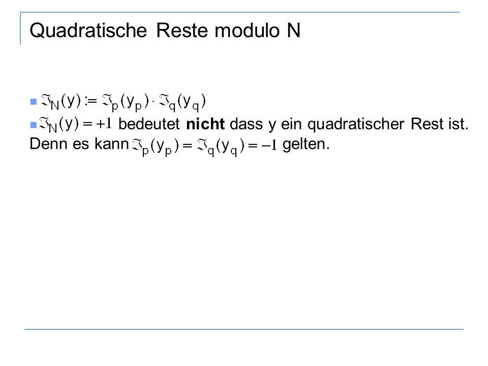 Quadratische Reste modulo N bedeutet nicht dass y ein quadratischer Rest ist. Denn es kann gelten.