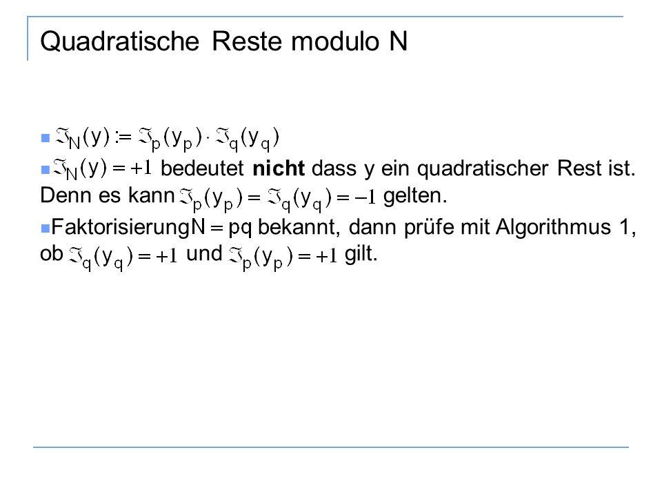Quadratische Reste modulo N bedeutet nicht dass y ein quadratischer Rest ist.
