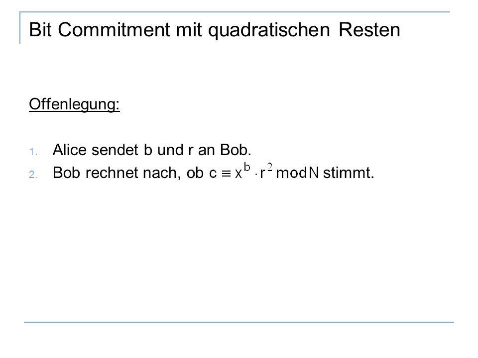 Bit Commitment mit quadratischen Resten Offenlegung: 1.