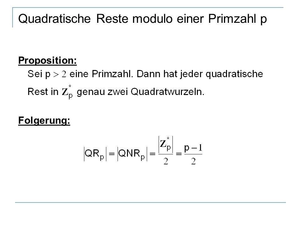 Quadratische Reste modulo einer Primzahl p Proposition: Folgerung: