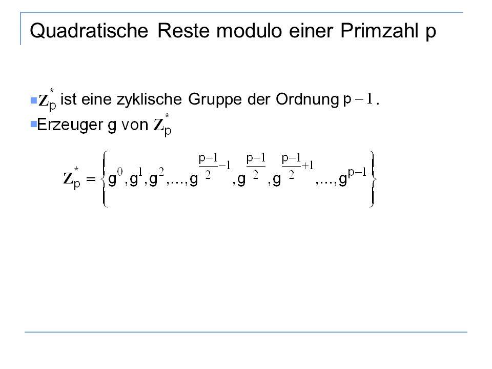 Quadratische Reste modulo einer Primzahl p ist eine zyklische Gruppe der Ordnung.