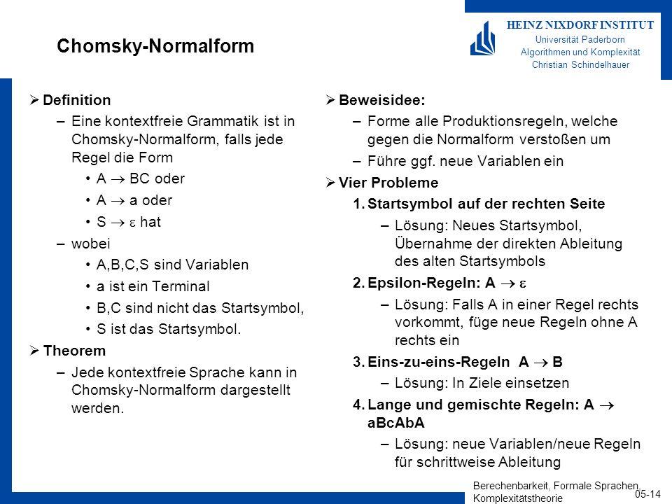 Berechenbarkeit, Formale Sprachen, Komplexitätstheorie 05-14 HEINZ NIXDORF INSTITUT Universität Paderborn Algorithmen und Komplexität Christian Schind