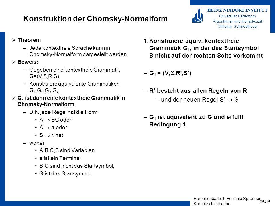 Berechenbarkeit, Formale Sprachen, Komplexitätstheorie 05-15 HEINZ NIXDORF INSTITUT Universität Paderborn Algorithmen und Komplexität Christian Schindelhauer Konstruktion der Chomsky-Normalform Theorem –Jede kontextfreie Sprache kann in Chomsky-Normalform dargestellt werden.