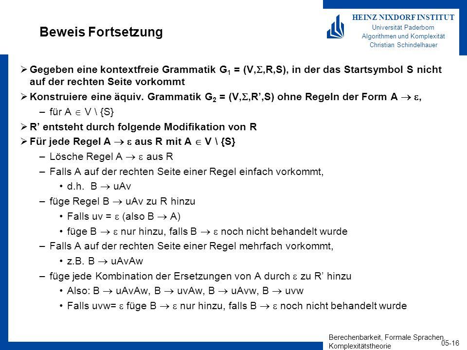 Berechenbarkeit, Formale Sprachen, Komplexitätstheorie 05-16 HEINZ NIXDORF INSTITUT Universität Paderborn Algorithmen und Komplexität Christian Schindelhauer Beweis Fortsetzung Gegeben eine kontextfreie Grammatik G 1 = (V,,R,S), in der das Startsymbol S nicht auf der rechten Seite vorkommt Konstruiere eine äquiv.