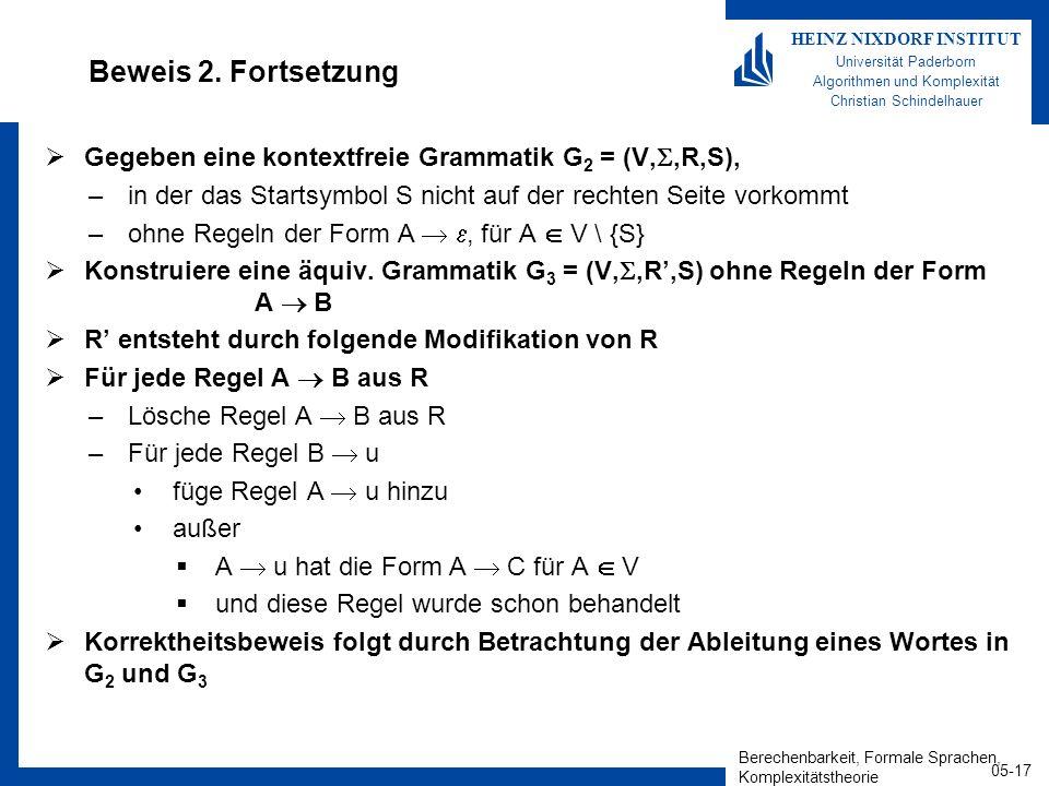 Berechenbarkeit, Formale Sprachen, Komplexitätstheorie 05-17 HEINZ NIXDORF INSTITUT Universität Paderborn Algorithmen und Komplexität Christian Schindelhauer Beweis 2.