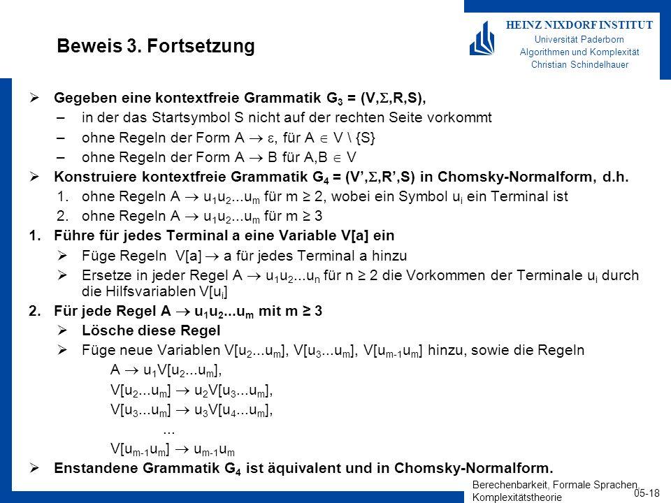Berechenbarkeit, Formale Sprachen, Komplexitätstheorie 05-18 HEINZ NIXDORF INSTITUT Universität Paderborn Algorithmen und Komplexität Christian Schind