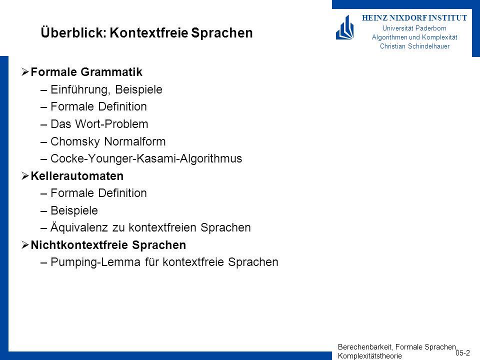 Berechenbarkeit, Formale Sprachen, Komplexitätstheorie 05-2 HEINZ NIXDORF INSTITUT Universität Paderborn Algorithmen und Komplexität Christian Schinde