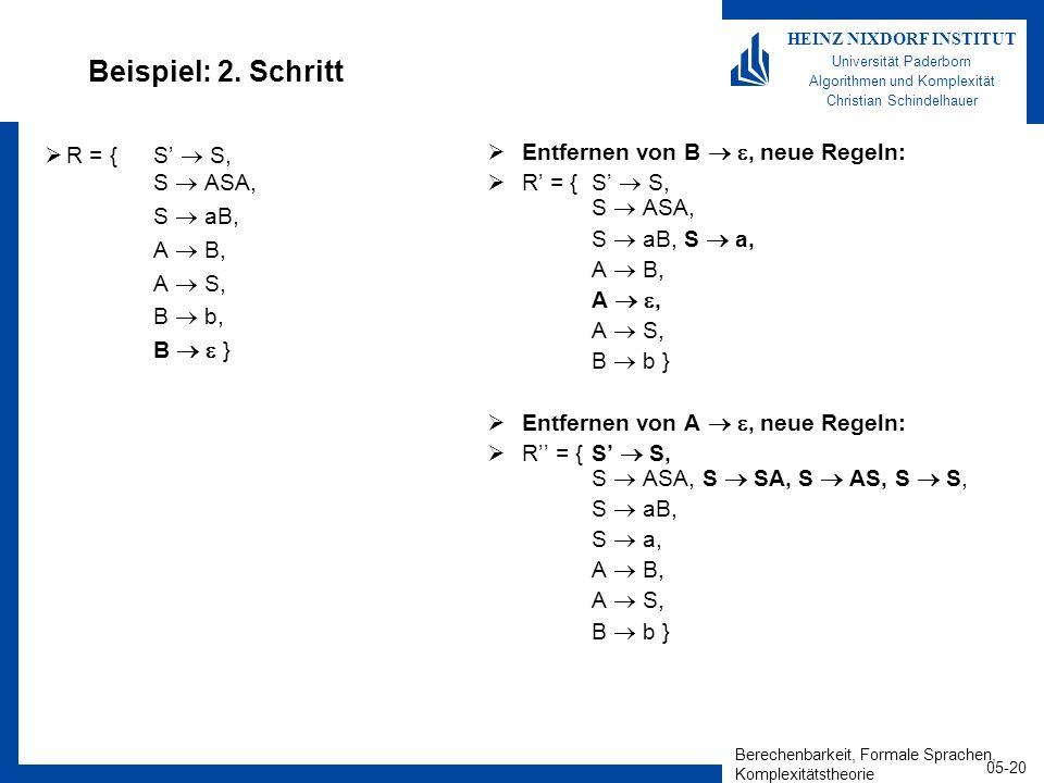 Berechenbarkeit, Formale Sprachen, Komplexitätstheorie 05-20 HEINZ NIXDORF INSTITUT Universität Paderborn Algorithmen und Komplexität Christian Schindelhauer Beispiel: 2.