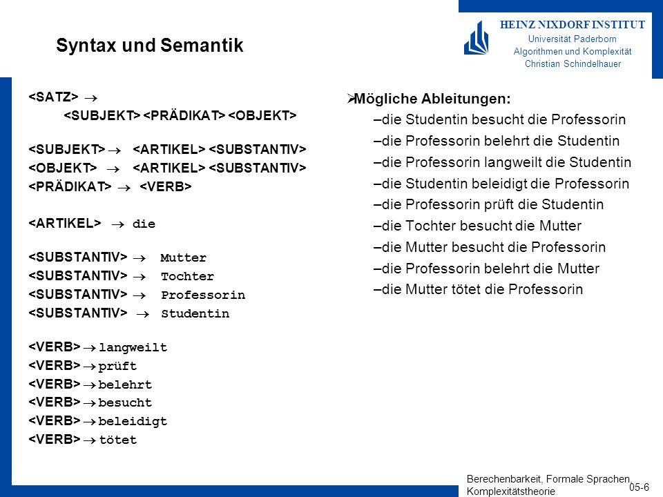 Berechenbarkeit, Formale Sprachen, Komplexitätstheorie 05-6 HEINZ NIXDORF INSTITUT Universität Paderborn Algorithmen und Komplexität Christian Schinde