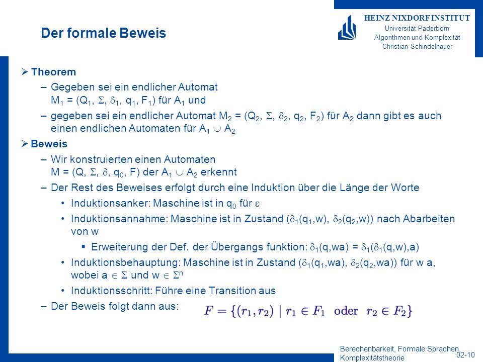 Berechenbarkeit, Formale Sprachen, Komplexitätstheorie 02-10 HEINZ NIXDORF INSTITUT Universität Paderborn Algorithmen und Komplexität Christian Schindelhauer Der formale Beweis Theorem –Gegeben sei ein endlicher Automat M 1 = (Q 1,, 1, q 1, F 1 ) für A 1 und –gegeben sei ein endlicher Automat M 2 = (Q 2,, 2, q 2, F 2 ) für A 2 dann gibt es auch einen endlichen Automaten für A 1 A 2 Beweis –Wir konstruierten einen Automaten M = (Q,,, q 0, F) der A 1 A 2 erkennt –Der Rest des Beweises erfolgt durch eine Induktion über die Länge der Worte Induktionsanker: Maschine ist in q 0 für Induktionsannahme: Maschine ist in Zustand ( 1 (q 1,w), 2 (q 2,w)) nach Abarbeiten von w Erweiterung der Def.