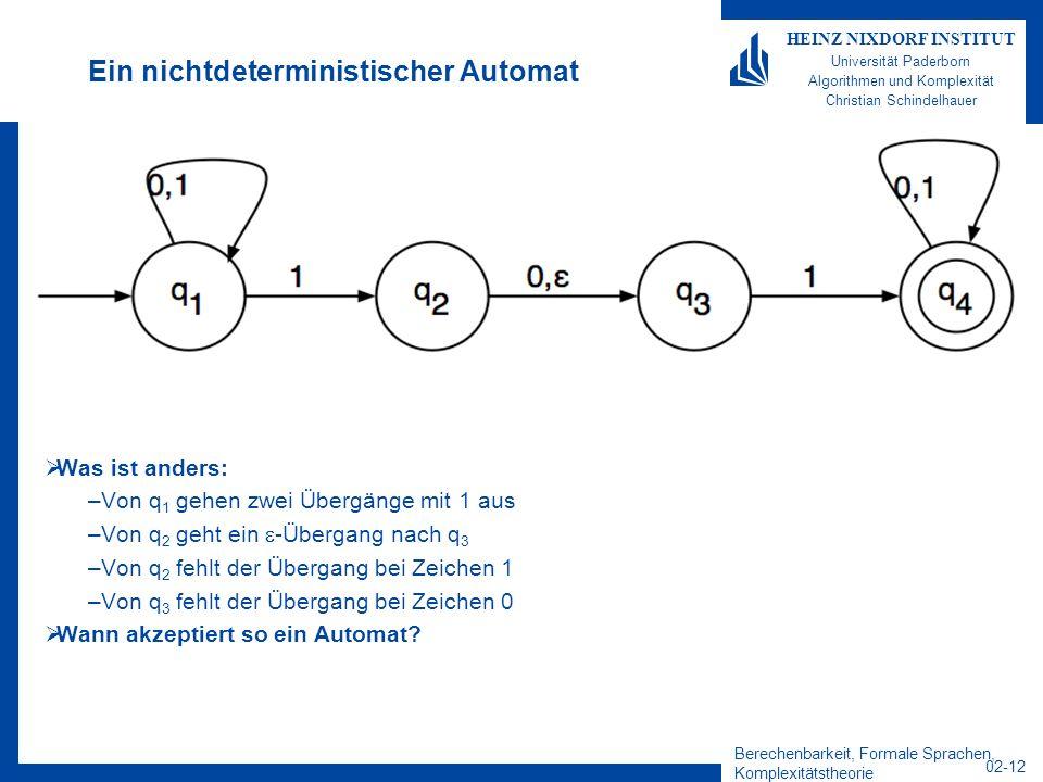 Berechenbarkeit, Formale Sprachen, Komplexitätstheorie 02-12 HEINZ NIXDORF INSTITUT Universität Paderborn Algorithmen und Komplexität Christian Schindelhauer Ein nichtdeterministischer Automat Was ist anders: –Von q 1 gehen zwei Übergänge mit 1 aus –Von q 2 geht ein -Übergang nach q 3 –Von q 2 fehlt der Übergang bei Zeichen 1 –Von q 3 fehlt der Übergang bei Zeichen 0 Wann akzeptiert so ein Automat?