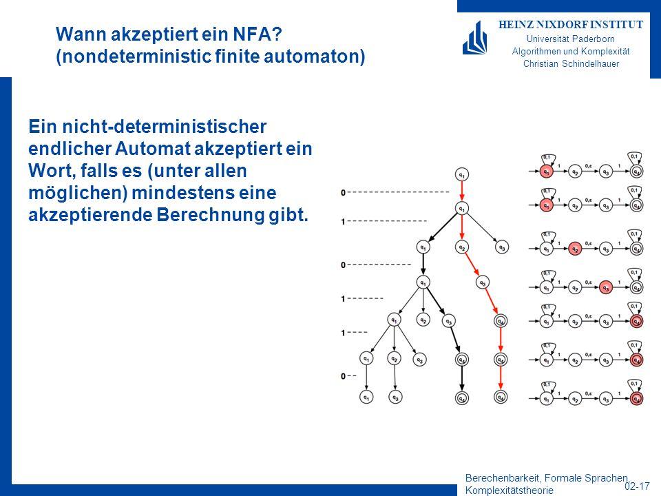 Berechenbarkeit, Formale Sprachen, Komplexitätstheorie 02-17 HEINZ NIXDORF INSTITUT Universität Paderborn Algorithmen und Komplexität Christian Schindelhauer Wann akzeptiert ein NFA.