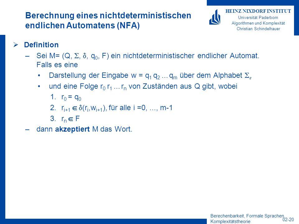 Berechenbarkeit, Formale Sprachen, Komplexitätstheorie 02-20 HEINZ NIXDORF INSTITUT Universität Paderborn Algorithmen und Komplexität Christian Schindelhauer Berechnung eines nichtdeterministischen endlichen Automatens (NFA) Definition –Sei M= (Q,,, q 0, F) ein nichtdeterministischer endlicher Automat.