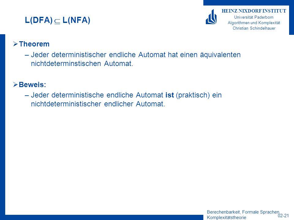 Berechenbarkeit, Formale Sprachen, Komplexitätstheorie 02-21 HEINZ NIXDORF INSTITUT Universität Paderborn Algorithmen und Komplexität Christian Schindelhauer L(DFA) L(NFA) Theorem –Jeder deterministischer endliche Automat hat einen äquivalenten nichtdeterminstischen Automat.