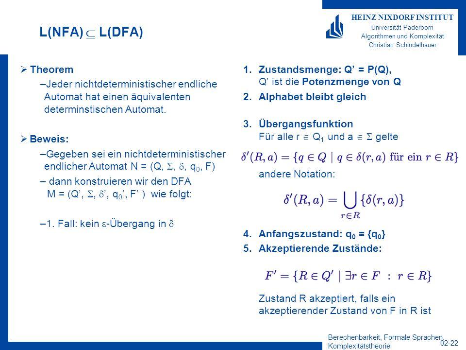 Berechenbarkeit, Formale Sprachen, Komplexitätstheorie 02-22 HEINZ NIXDORF INSTITUT Universität Paderborn Algorithmen und Komplexität Christian Schindelhauer L(NFA) L(DFA) Theorem –Jeder nichtdeterministischer endliche Automat hat einen äquivalenten determinstischen Automat.