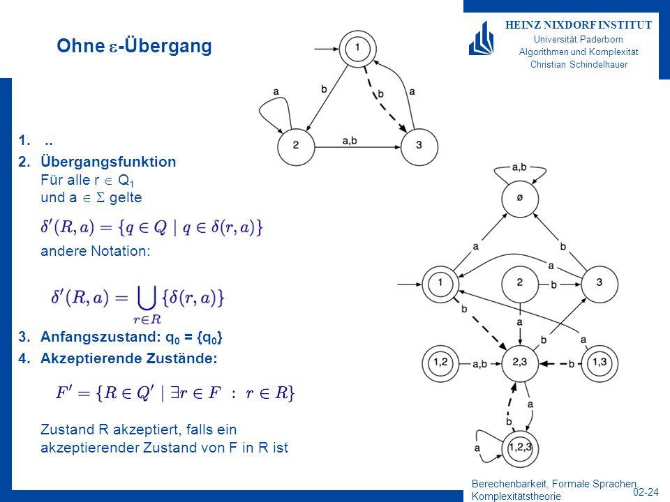 Berechenbarkeit, Formale Sprachen, Komplexitätstheorie 02-24 HEINZ NIXDORF INSTITUT Universität Paderborn Algorithmen und Komplexität Christian Schindelhauer Ohne -Übergang 1...