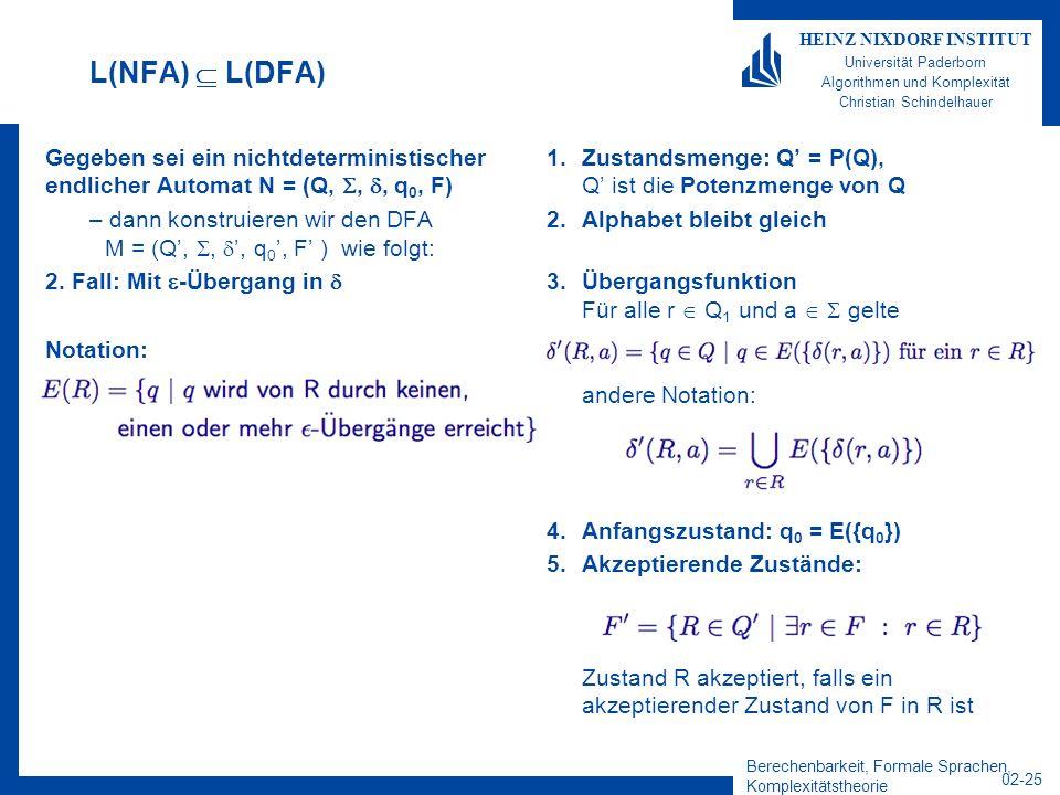 Berechenbarkeit, Formale Sprachen, Komplexitätstheorie 02-25 HEINZ NIXDORF INSTITUT Universität Paderborn Algorithmen und Komplexität Christian Schindelhauer L(NFA) L(DFA) Gegeben sei ein nichtdeterministischer endlicher Automat N = (Q,,, q 0, F) – dann konstruieren wir den DFA M = (Q,,, q 0, F ) wie folgt: 2.