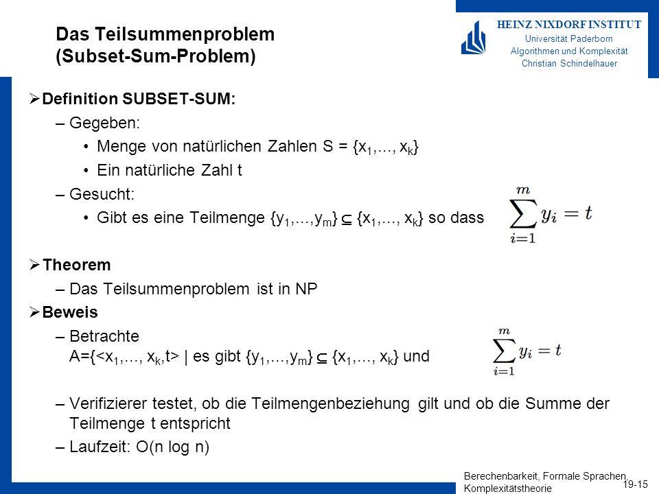 Berechenbarkeit, Formale Sprachen, Komplexitätstheorie 19-15 HEINZ NIXDORF INSTITUT Universität Paderborn Algorithmen und Komplexität Christian Schindelhauer Das Teilsummenproblem (Subset-Sum-Problem) Definition SUBSET-SUM: –Gegeben: Menge von natürlichen Zahlen S = {x 1,..., x k } Ein natürliche Zahl t –Gesucht: Gibt es eine Teilmenge {y 1,...,y m } {x 1,..., x k } so dass Theorem –Das Teilsummenproblem ist in NP Beweis –Betrachte A={   es gibt {y 1,...,y m } {x 1,..., x k } und } –Verifizierer testet, ob die Teilmengenbeziehung gilt und ob die Summe der Teilmenge t entspricht –Laufzeit: O(n log n)