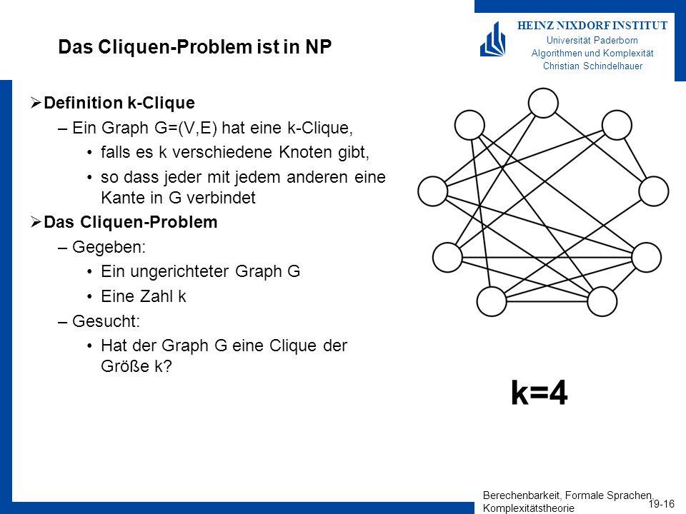 Berechenbarkeit, Formale Sprachen, Komplexitätstheorie 19-16 HEINZ NIXDORF INSTITUT Universität Paderborn Algorithmen und Komplexität Christian Schindelhauer Das Cliquen-Problem ist in NP Definition k-Clique –Ein Graph G=(V,E) hat eine k-Clique, falls es k verschiedene Knoten gibt, so dass jeder mit jedem anderen eine Kante in G verbindet Das Cliquen-Problem –Gegeben: Ein ungerichteter Graph G Eine Zahl k –Gesucht: Hat der Graph G eine Clique der Größe k.