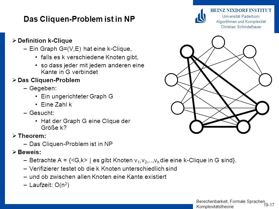 Berechenbarkeit, Formale Sprachen, Komplexitätstheorie 19-17 HEINZ NIXDORF INSTITUT Universität Paderborn Algorithmen und Komplexität Christian Schindelhauer Das Cliquen-Problem ist in NP Definition k-Clique –Ein Graph G=(V,E) hat eine k-Clique, falls es k verschiedene Knoten gibt, so dass jeder mit jedem anderen eine Kante in G verbindet Das Cliquen-Problem –Gegeben: Ein ungerichteter Graph G Eine Zahl k –Gesucht: Hat der Graph G eine Clique der Größe k.