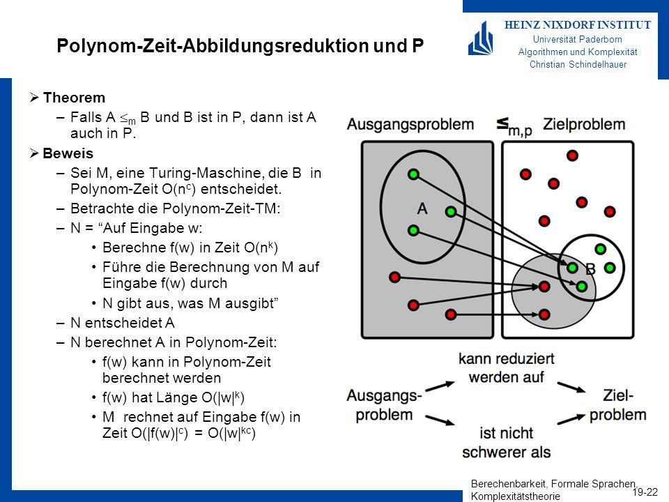 Berechenbarkeit, Formale Sprachen, Komplexitätstheorie 19-22 HEINZ NIXDORF INSTITUT Universität Paderborn Algorithmen und Komplexität Christian Schindelhauer Polynom-Zeit-Abbildungsreduktion und P Theorem –Falls A m B und B ist in P, dann ist A auch in P.