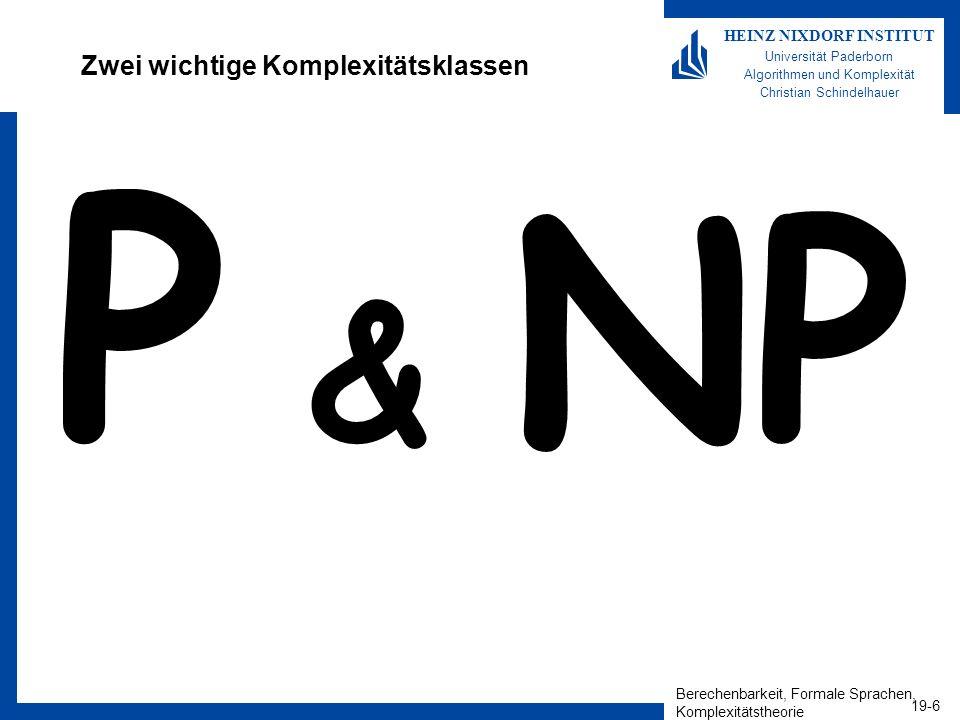 Berechenbarkeit, Formale Sprachen, Komplexitätstheorie 19-6 HEINZ NIXDORF INSTITUT Universität Paderborn Algorithmen und Komplexität Christian Schindelhauer Zwei wichtige Komplexitätsklassen P & NP