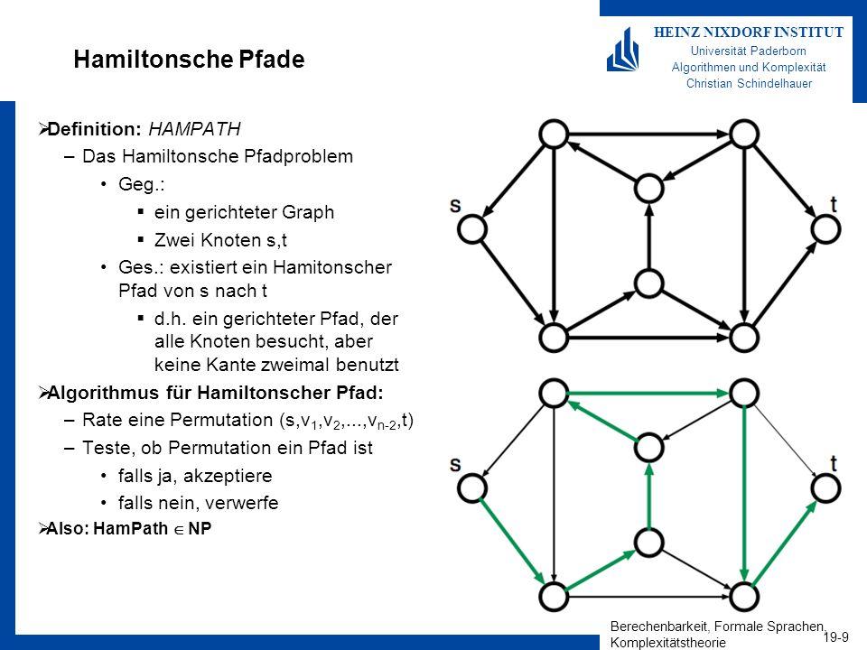 Berechenbarkeit, Formale Sprachen, Komplexitätstheorie 19-9 HEINZ NIXDORF INSTITUT Universität Paderborn Algorithmen und Komplexität Christian Schinde