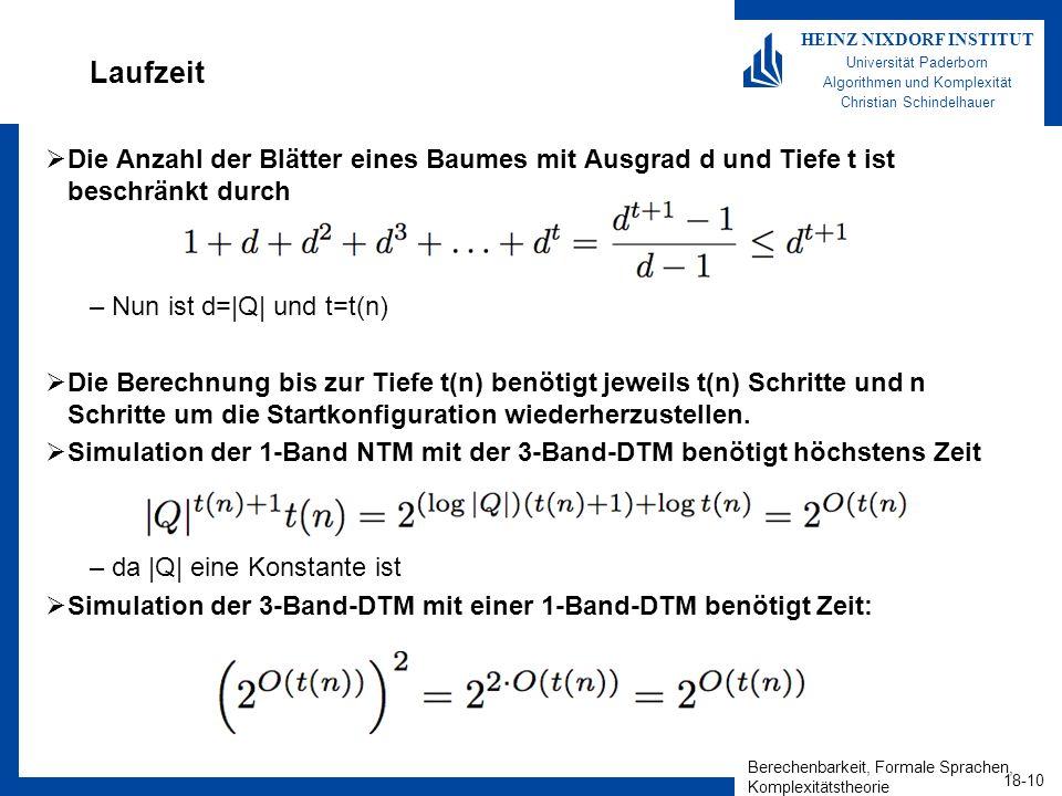 Berechenbarkeit, Formale Sprachen, Komplexitätstheorie 18-10 HEINZ NIXDORF INSTITUT Universität Paderborn Algorithmen und Komplexität Christian Schindelhauer Laufzeit Die Anzahl der Blätter eines Baumes mit Ausgrad d und Tiefe t ist beschränkt durch –Nun ist d=|Q| und t=t(n) Die Berechnung bis zur Tiefe t(n) benötigt jeweils t(n) Schritte und n Schritte um die Startkonfiguration wiederherzustellen.