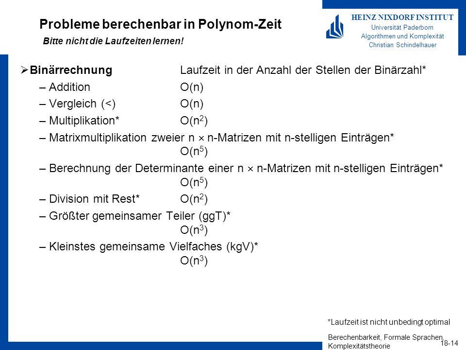 Berechenbarkeit, Formale Sprachen, Komplexitätstheorie 18-14 HEINZ NIXDORF INSTITUT Universität Paderborn Algorithmen und Komplexität Christian Schind