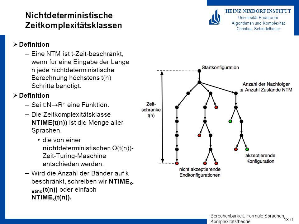 Berechenbarkeit, Formale Sprachen, Komplexitätstheorie 18-6 HEINZ NIXDORF INSTITUT Universität Paderborn Algorithmen und Komplexität Christian Schinde