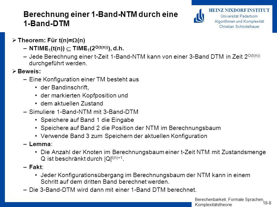Berechenbarkeit, Formale Sprachen, Komplexitätstheorie 18-8 HEINZ NIXDORF INSTITUT Universität Paderborn Algorithmen und Komplexität Christian Schindelhauer Berechnung einer 1-Band-NTM durch eine 1-Band-DTM Theorem: Für t(n)= (n) –NTIME 1 (t(n)) TIME 1 (2 O(t(n)) ), d.h.