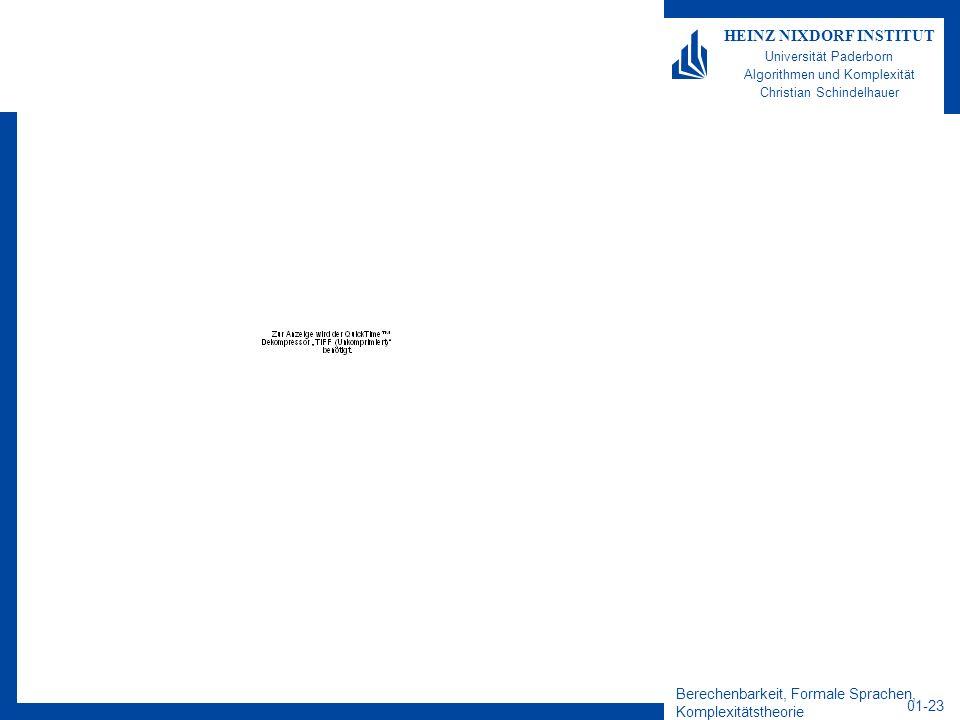 Berechenbarkeit, Formale Sprachen, Komplexitätstheorie 01-23 HEINZ NIXDORF INSTITUT Universität Paderborn Algorithmen und Komplexität Christian Schind