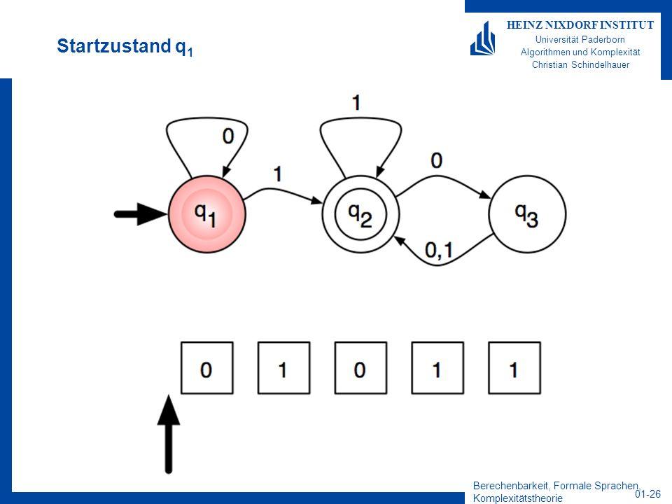 Berechenbarkeit, Formale Sprachen, Komplexitätstheorie 01-26 HEINZ NIXDORF INSTITUT Universität Paderborn Algorithmen und Komplexität Christian Schind